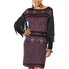 Rara Avis by Iris Apfel Fringe-Sleeve Sweater Dress
