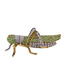 Rara Avis by Iris Apfel Grasshopper Multicolor Crystal Brooch
