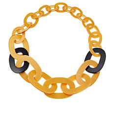 Rara Avis by Iris Apfel Yellow and Black Oval Resin Link Necklace