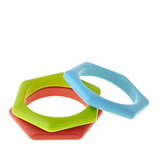 Rara Avis Set of 3 Hexagonal Resin Bangle Bracelets