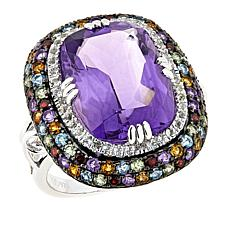 Rarities 10.08ctw Amethyst Multigem Sterling Silver Ring