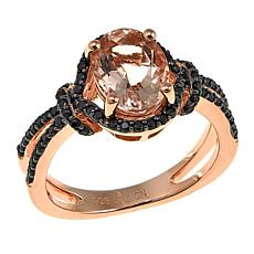 Rarities 1.76ctw Morganite and Black Spinel Split-Shank Ring