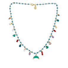 "Rarities 18"" Multi-Gemstone Squash Blossom Link Necklace"