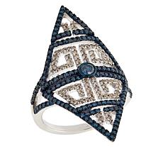 "Rarities 1cttw Blue and White Diamond ""Tattoo"" Ring"