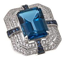 Rarities 20.44ctw London Blue Topaz and Gem Cross-Design Ring