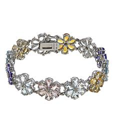 "Rarities 24.03ct Multigem Flower-Design 7-1/4"" Bracelet"