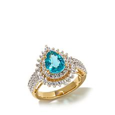 Rarities 2.55ctw Apatite and White Zircon Vermeil Ring