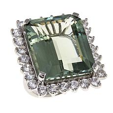 Rarities 31.21ctw Emerald-Cut Prasiolite and White Zircon Ring