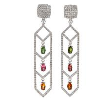 Rarities 3.81ctw Multicolor Tourmaline & White Zircon Dangle Earrings