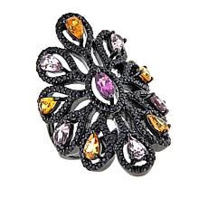 Rarities 4.07ctw Black Spinel & Multicolor Garnet Marquise-Design Ring