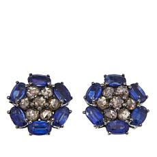 Rarities 4.26ctw Oval Kyanite and Champagne Diamond Stud Earrings