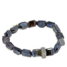 "Rarities 6-1/2"" Blue Labradorite and White Zircon Stretch Bracelet"