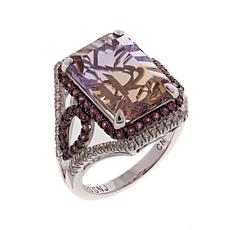 Rarities 7.21ctw Ametrine, Purple Garnet and White Zircon Ring