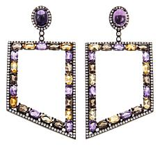 Rarities 8.45ctw Multigemstone Geometric Drop Earrings