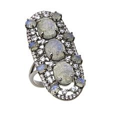 Rarities 9.10ctw White Zircon and Labradorite North/South Ring