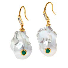 Rarities Baroque Cultured Pearl, White Zircon and Gem Drop Earrings