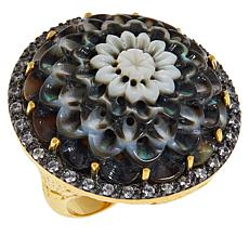 Rarities Black Mother-of-Pearl and White Zircon Carved Flower Ring