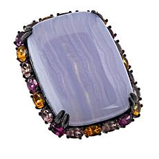 Rarities Black Rhodium Blue Lace Agate and Multicolored Garnet Ring