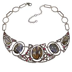 Rarities Black Rhodium Labradorite, Tourmaline & Diamond Bib Necklace