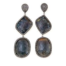 Rarities Black Sapphire and Diamond Drop Earrings