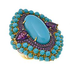 Rarities Blue Turquoise, Amethyst and White Zircon Ring