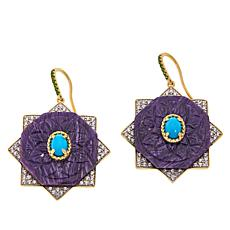 Rarities Carved Charoite, Turquoise and Gem Octagonal Drop Earrings