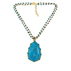 Rarities Compressed Turquoise Enhancer Pendant with Necklace