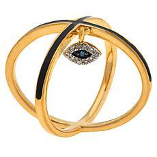 Rarities Criss Cross Ring with Diamond Evil Eye Charm