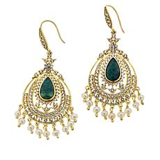 Rarities Emerald, White Topaz, Cultured Pearl Chandelier Drop Earrings