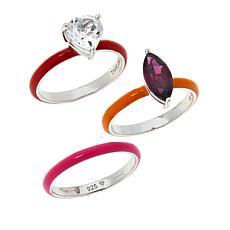 Rarities Enamel and Gemstone Ring 3-piece Set