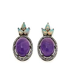 Rarities Ethiopian Opal, Amethyst and Diamond Earrings