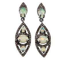 Rarities Ethiopian Opal and Champagne Diamond Marquise Drop Earrings