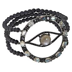 Rarities Evil Eye Multigem 3-Row Beaded Stretch Bracelet