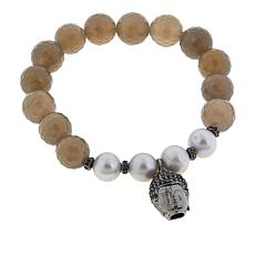 "Rarities Gemstone Bead and Buddha Charm 6-1/2"" Stretch Bracelet"