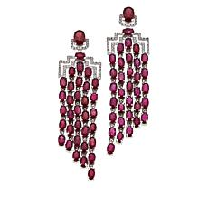"Rarities Glass-Filled Ruby & White Zircon ""Red Carpet"" Dangle Earrings"