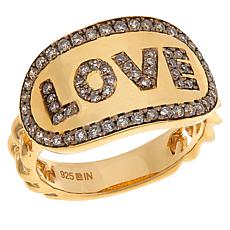"Rarities Gold-Plated 0.5ctw Champagne Diamond ""Love"" Ring"
