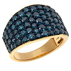 Rarities Gold-Plated 2.99ctw Blue Diamond Tapered Band Ring