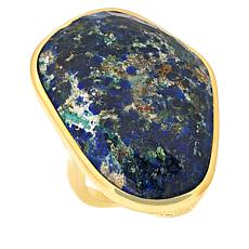 Rarities Gold-Plated Azurite Malachite Freeform Ring