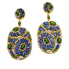 Rarities Gold-Plated Chrome Diopside and Gemstone Drop Earrings