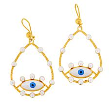"Rarities Gold-Plated Cultured Pearl ""Lucky Eye"" Drop Earrings"