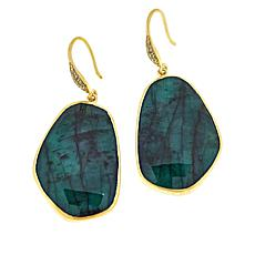 Rarities Gold-Plated Freeform Emerald and White Zircon Drop Earrings
