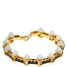 Rarities Gold-Plated Gem and Black Spinel Geometric Line Bracelet