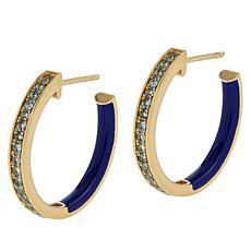Rarities Gold-Plated Gemstone and Enamel Inside-Outside Hoop Earrings