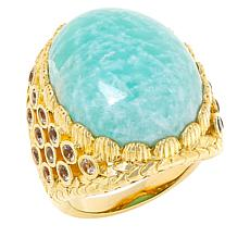 Rarities Gold-Plated Gemstone and White Topaz Oval Ring