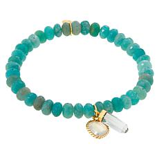 Rarities Gold-Plated Gemstone Bead and Charm Stretch Bracelet