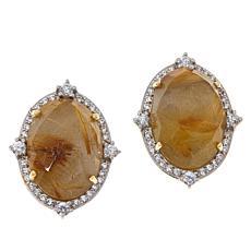 Rarities Gold-Plated Golden Rutilated Quartz and Zircon Stud Earrings