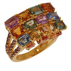 Rarities Gold-Plated Multicolored Sapphire and Rhodolite Ring
