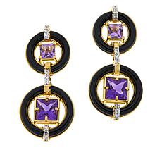Rarities Gold-Plated Onyx, Zircon and Gemstone Drop Earrings