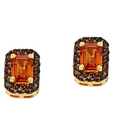 Rarities Gold-Plated Orange Sapphire and Smoky Quartz Stud Earrings