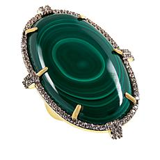 Rarities Gold-Plated Oval Malachite and White Zircon Ring